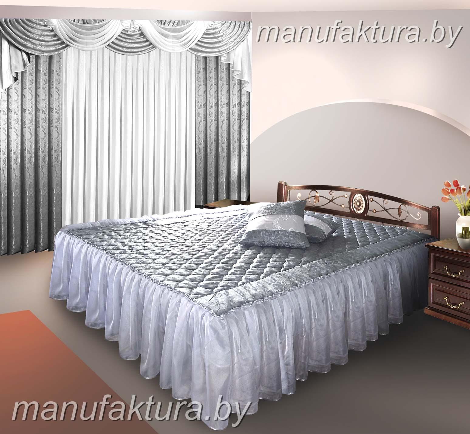 Дизайн штор в спальню с покрывалом фото